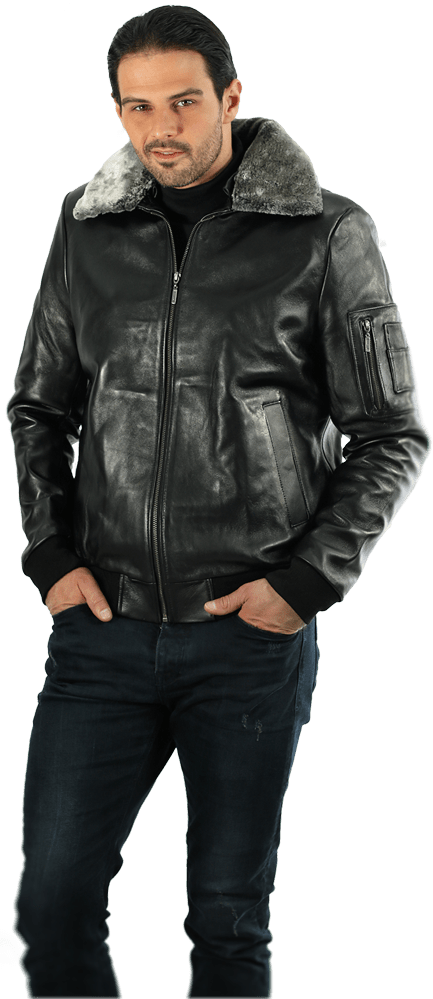Muška kožna pilotska jakna – Gordon JK – Crna