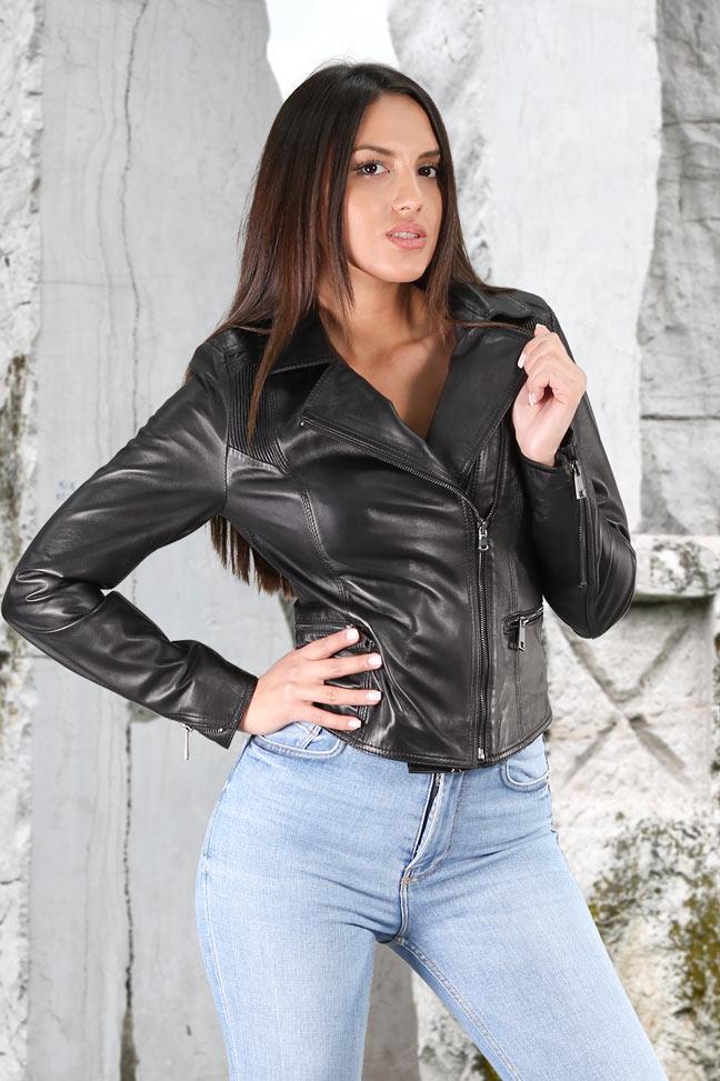 Ženska kožna jakna - Alicia - Crna