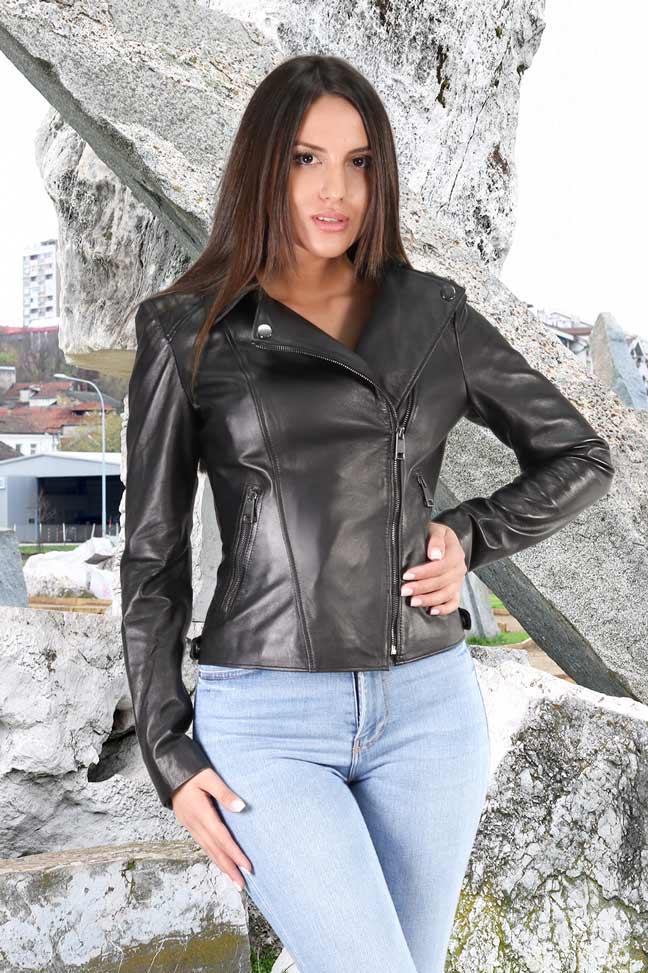 Ženska kožna jakna - Annie - Crna