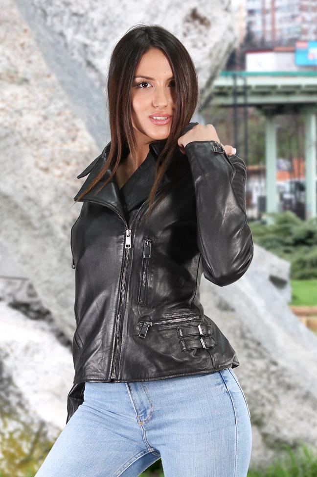 Ženska kožna jakna - Aretha - Crna