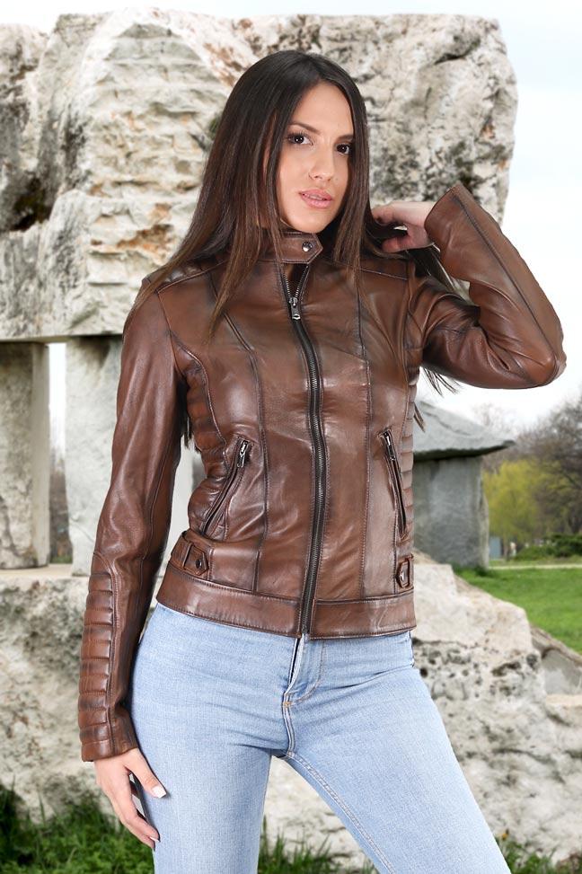 Ženska kožna jakna - Rossa - Braon melirana