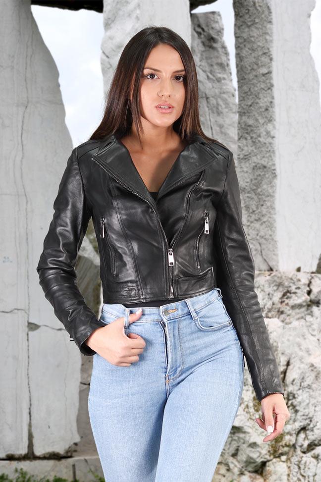 Ženska kožna jakna - Selena - Crna