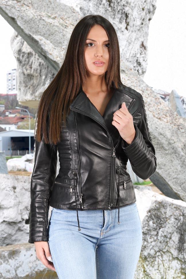 Ženska kožna jakna - Shade - Crna