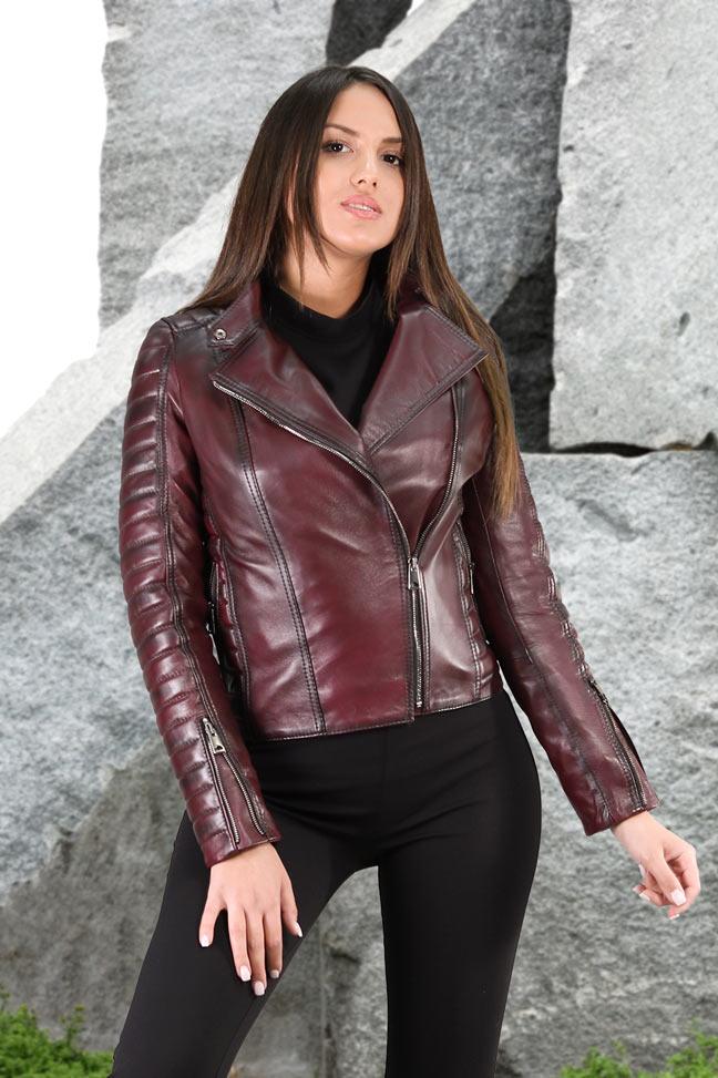 Ženska kožna jakna - Tina - Tamno ljubičasta melirana