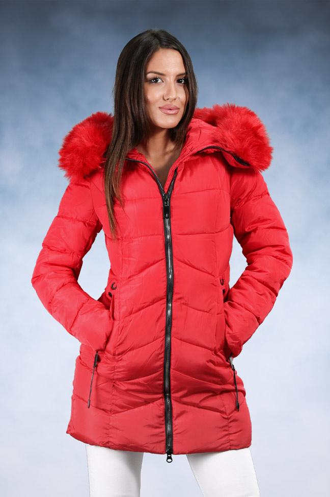 Ženska zimska jakna - Sportska i Casual - 9860 - Crvena