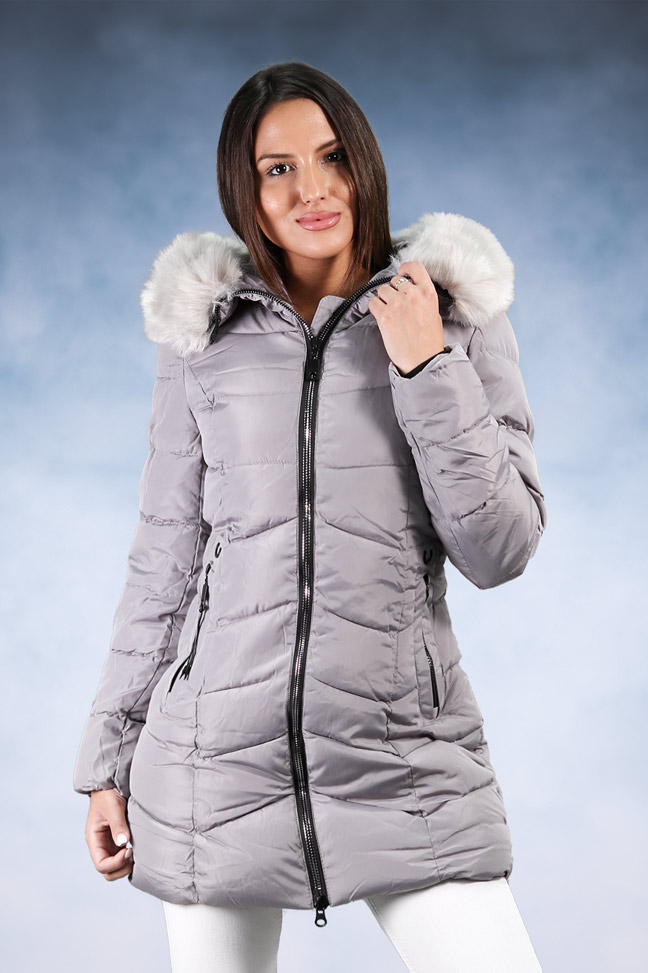 Ženska zimska jakna - Sportska i Casual - 9860 - Siva