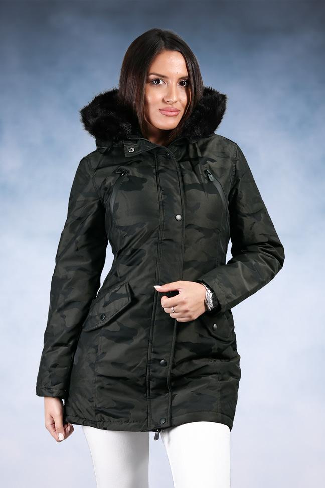 Ženska zimska jakna - Sportska i Casual - Invento Vanda - Tamno zelena maskirna