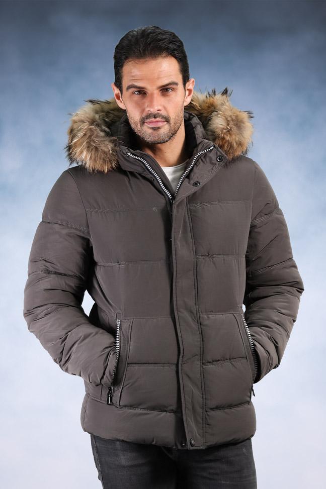 Muška zimska jakna - Sportska i Casual - 18038 - Siva