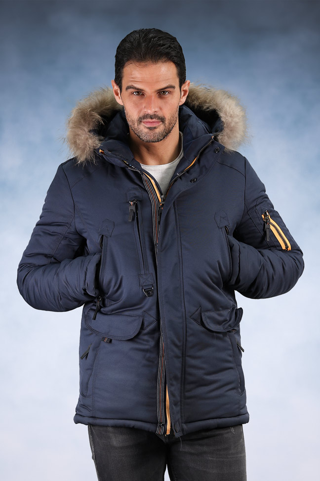 Muška zimska jakna - Sportska i Casual - 704 - Plava sa žutim