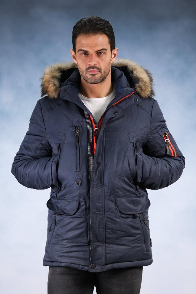 Muška zimska jakna - Sportska i Casual - 704 - Plava sa narandžastim