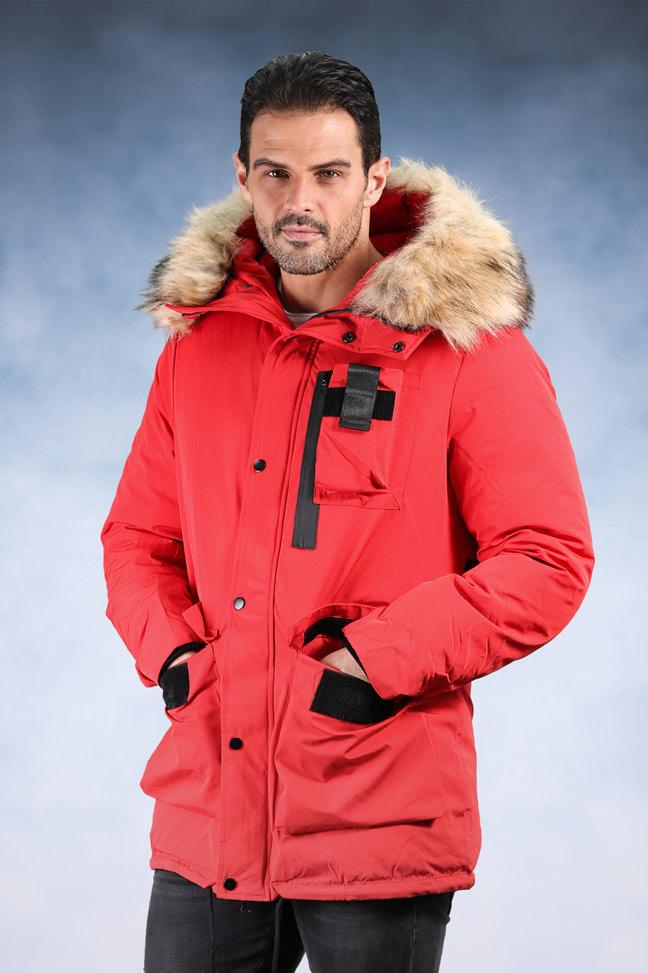 Muška zimska jakna - Sportska i Casual - 9801 - Crvena