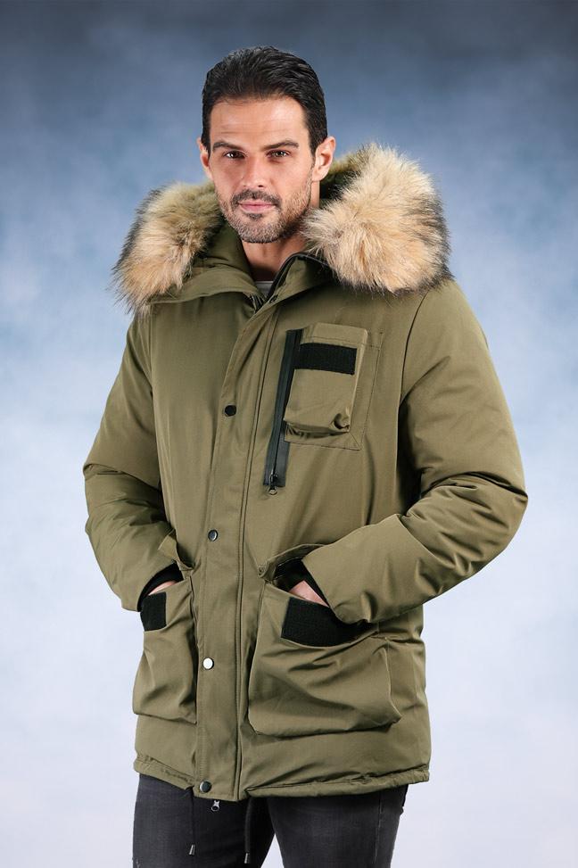 Muška zimska jakna - Sportska i Casual - 9801 - Maslinasta
