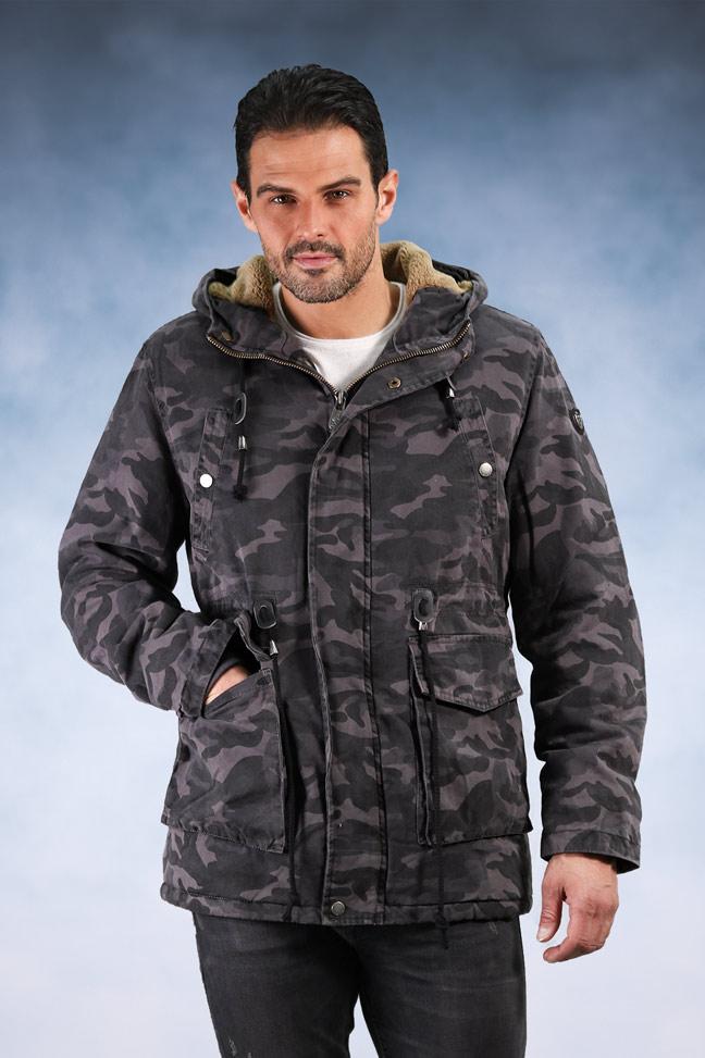 Muška zimska jakna - Sportska i Casual - Invento Alonso - Plava maskirna