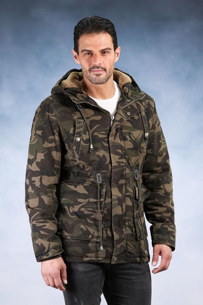 Muška zimska jakna – Sportska i Casual – Invento Alonso – Zelena maskirna