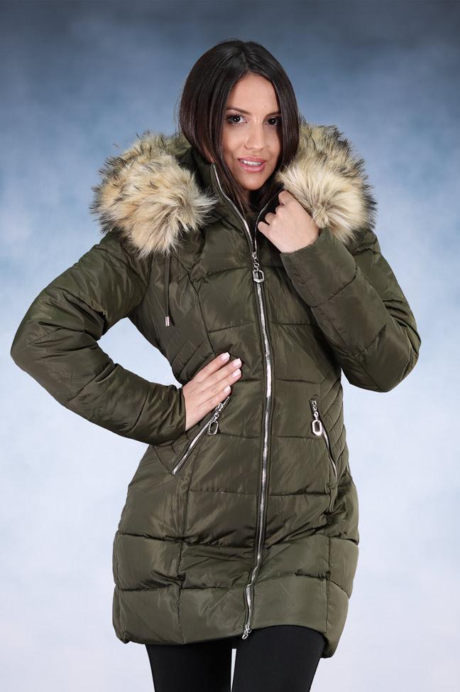 Ženska zimska jakna - Sportska i Casual - 1752 - Maslinasta