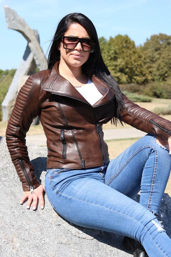 Ženska kožna jakna - Bonnie - Braon