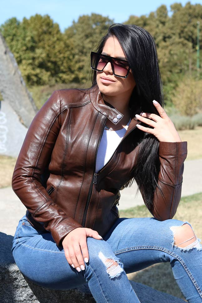 Ženska kožna jakna - Eva - Braon