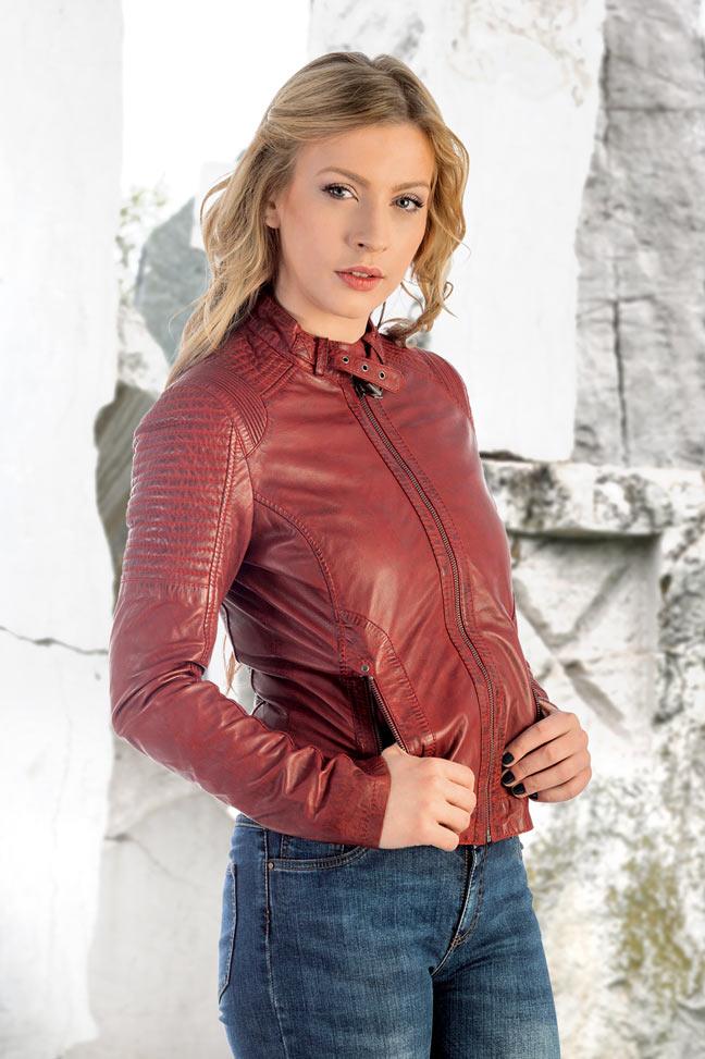 Ženska kožna jakna - Invento Nika - Crvena