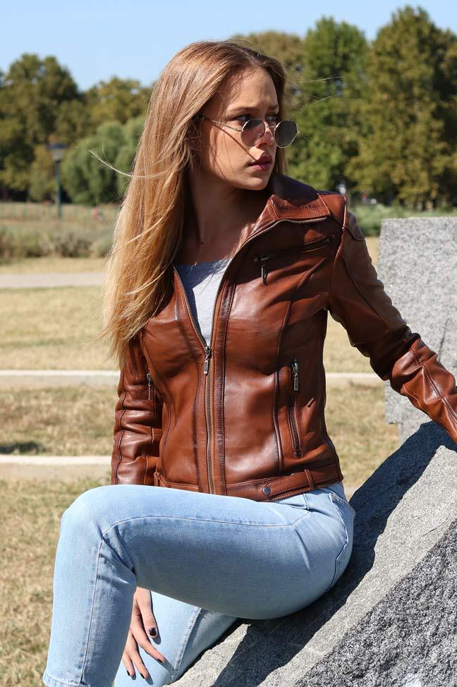 Ženska kožna jakna - Linzi - Svetlo braon, melirana