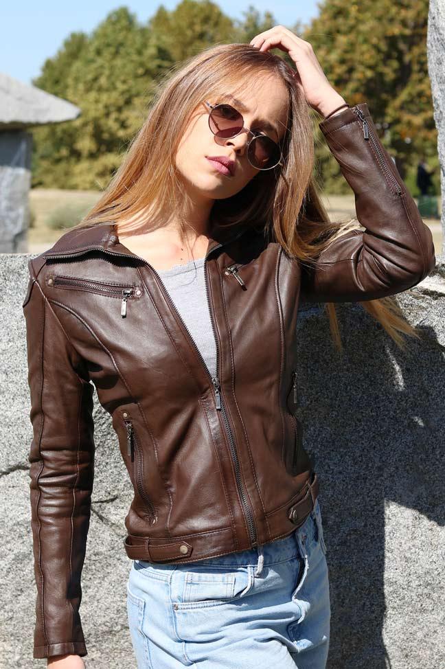 Ženska kožna jakna - Linzi - Tamno braon, melirana