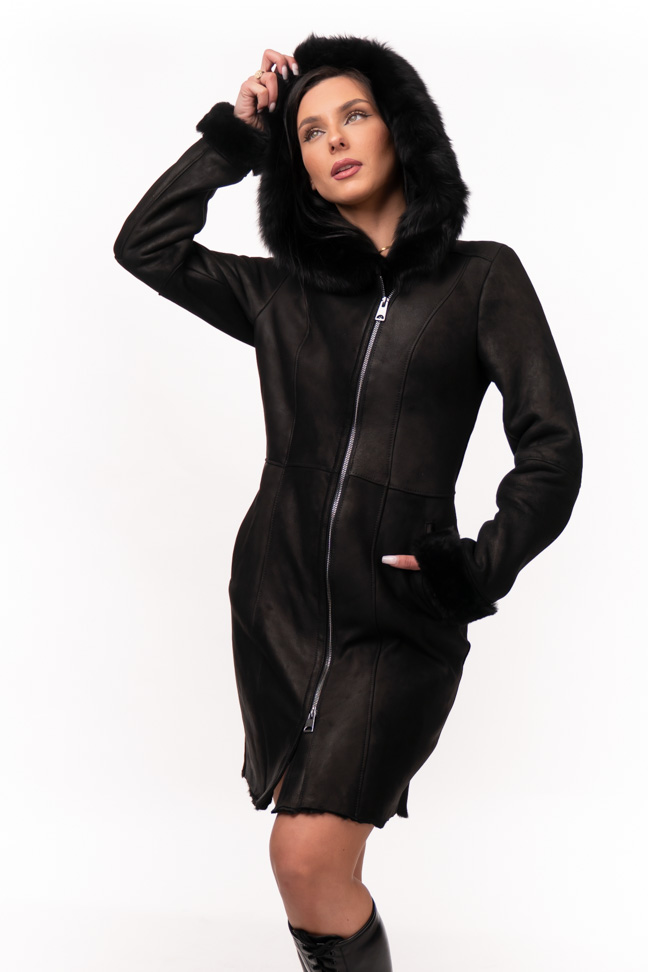 Monton - Eleonora (šišana) - Crna, crno krzno