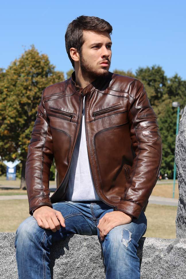 Muška kožna jakna - Brad - Braon