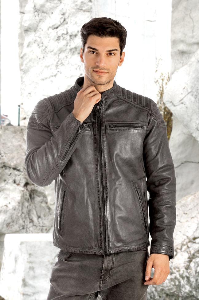 Muška kožna jakna - Invento Nik - Siva
