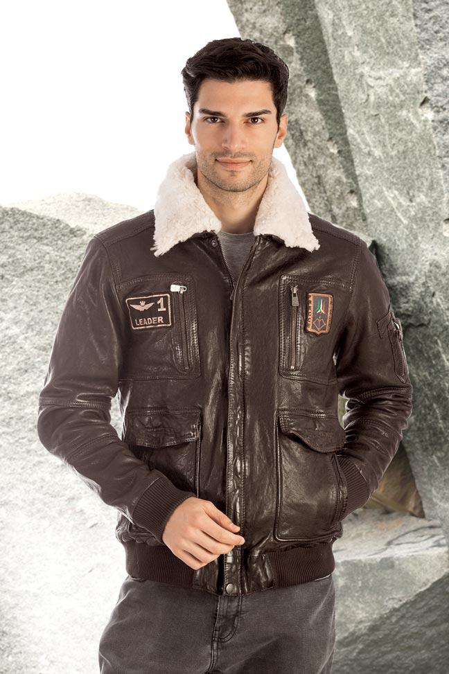 Muška kožna pilotska jakna - Invento Michael - Braon