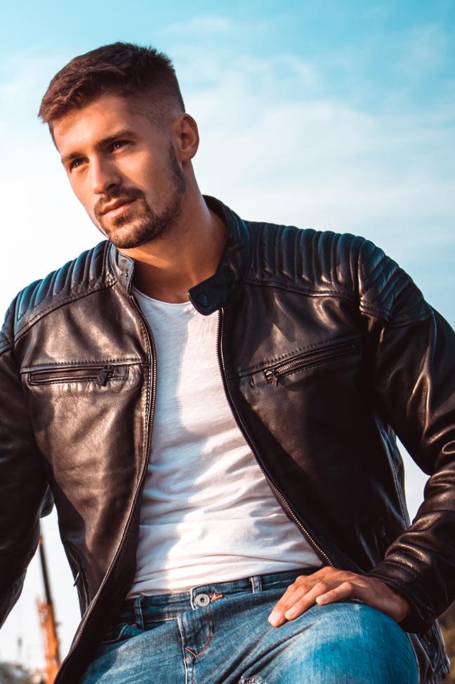 Muška kožna jakna - Invento Nik - Crna