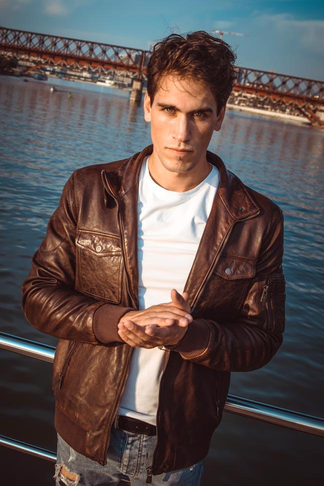 Muška kožna jakna - Invento Philip - Braon