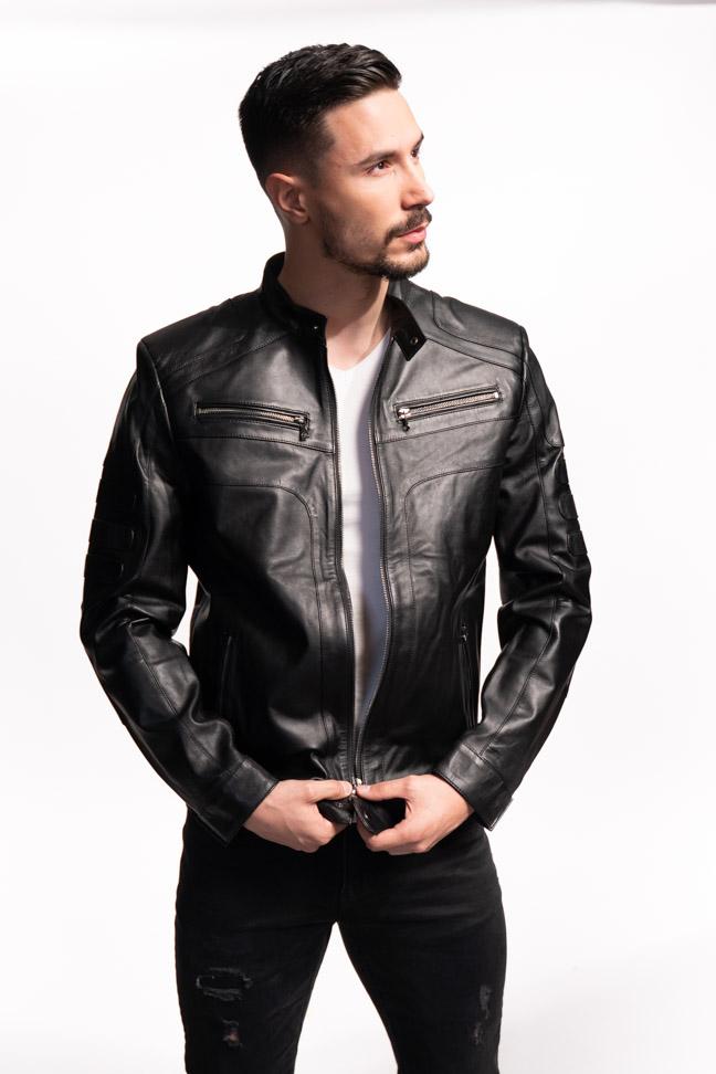 Muška kožna jakna - Brad - Crna