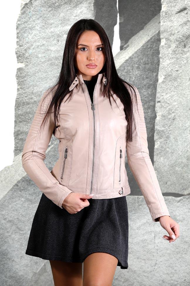 Ženska kožna jakna - Invento Nika - Bež