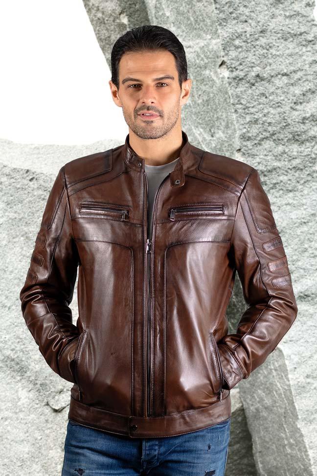 Muška kožna jakna - Ted - Braon melirana
