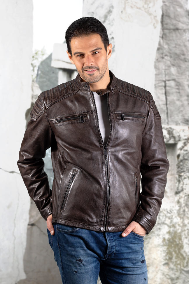 Muška kožna jakna - Invento Nik - Braon