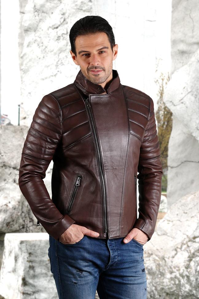 Muška kožna jakna - Victor - Tamno braon melirana
