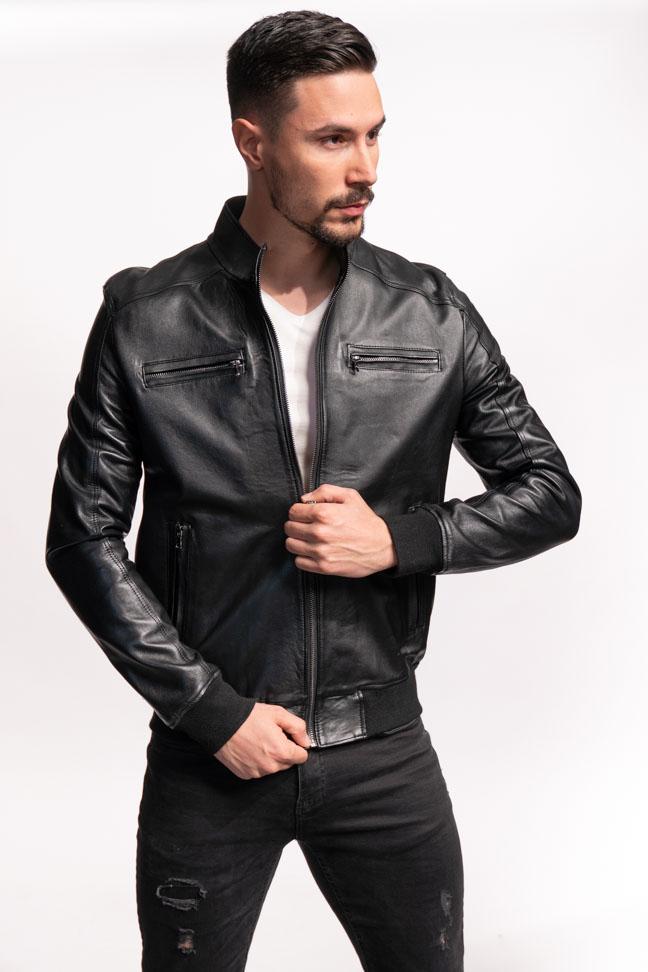 Muška kožna jakna - Ted - Crna