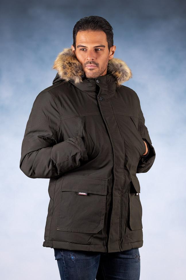 Muška zimska jakna - Sportska i Casual - 9251 - Maslinasta