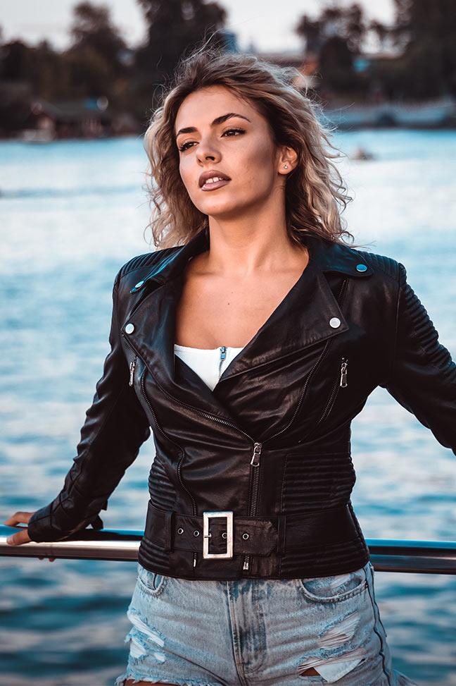 Ženska kožna jakna - Erica - Crna