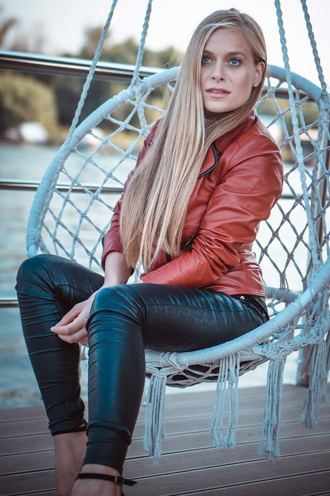 Ženska kožna jakna – Kasia – Crvena