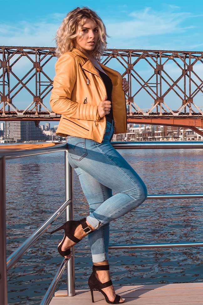 Ženska kožna jakna – Kim – Žuta