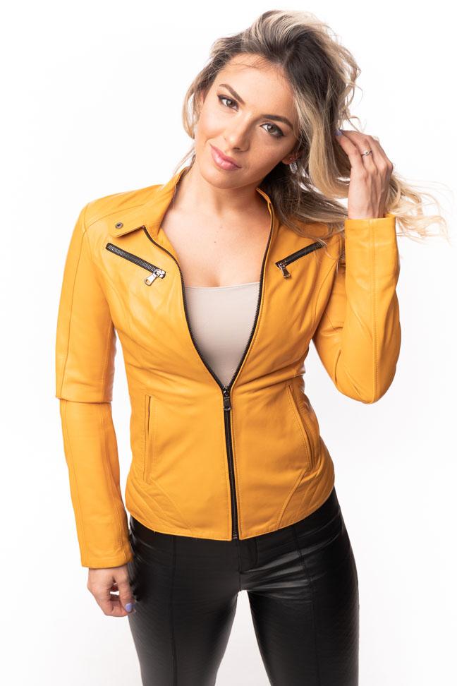 Ženska kožna jakna – Lara – Žuta
