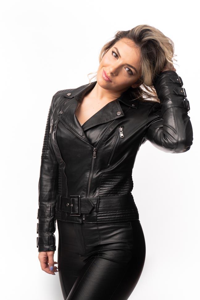 Ženska kožna jakna – Erica – Crna
