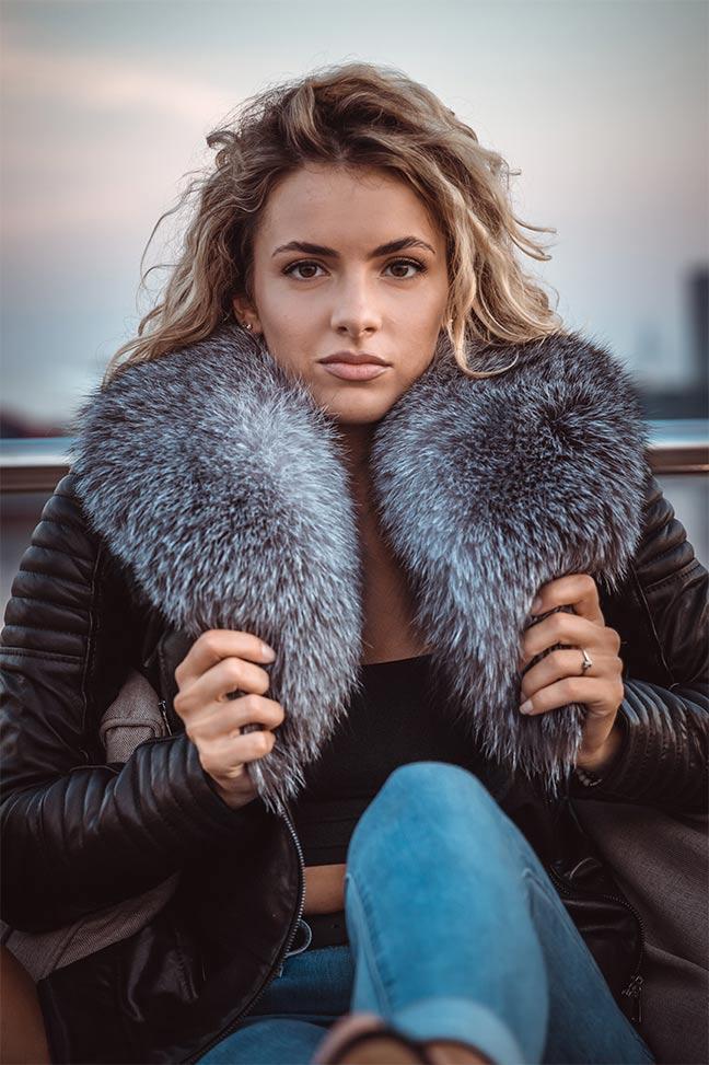 Ženska kožna jakna sa krznom – Bella – Crna, krzno polarne lisice