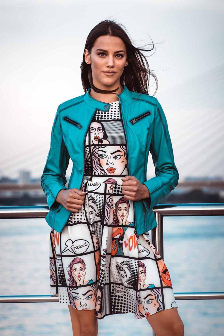 Ženska kožna jakna – Lara – Tirkiz