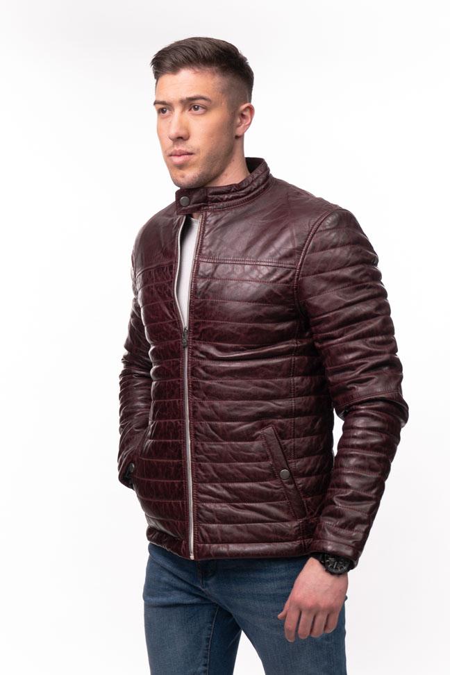 Muška kožna jakna - Azuro - Bordo
