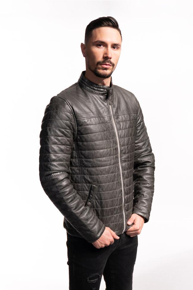 Muška kožna jakna - Azuro - Siva