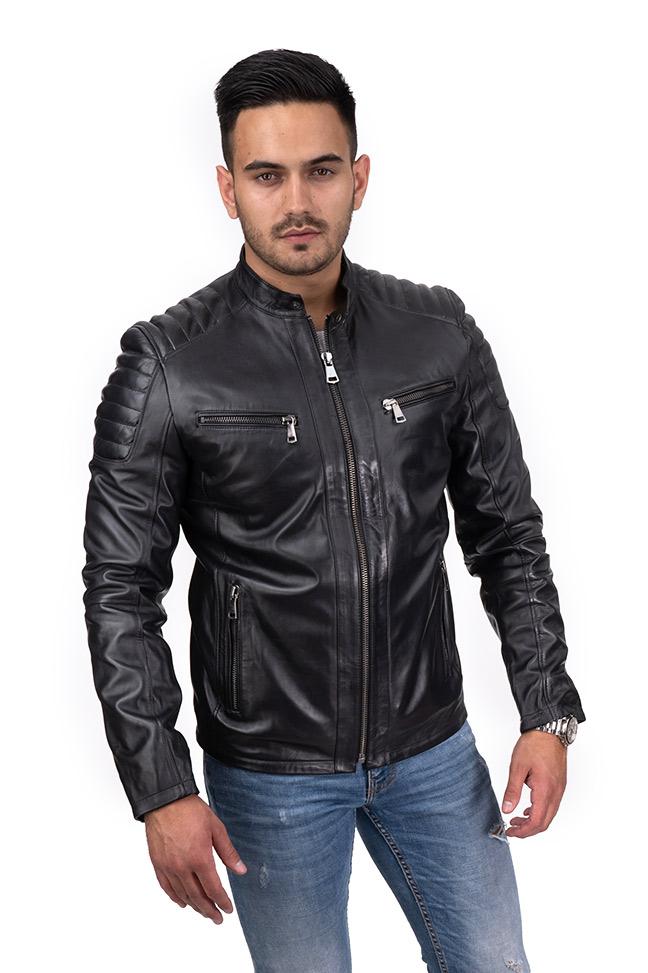 Muška kožna jakna - Pierre - Crna