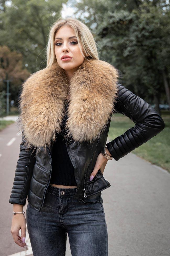 Ženska kožna jakna sa krznom - Bella - Crna, natur krzno