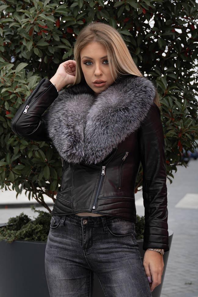 Ženska kožna jakna sa krznom – Kim – Crna, sivo krzno