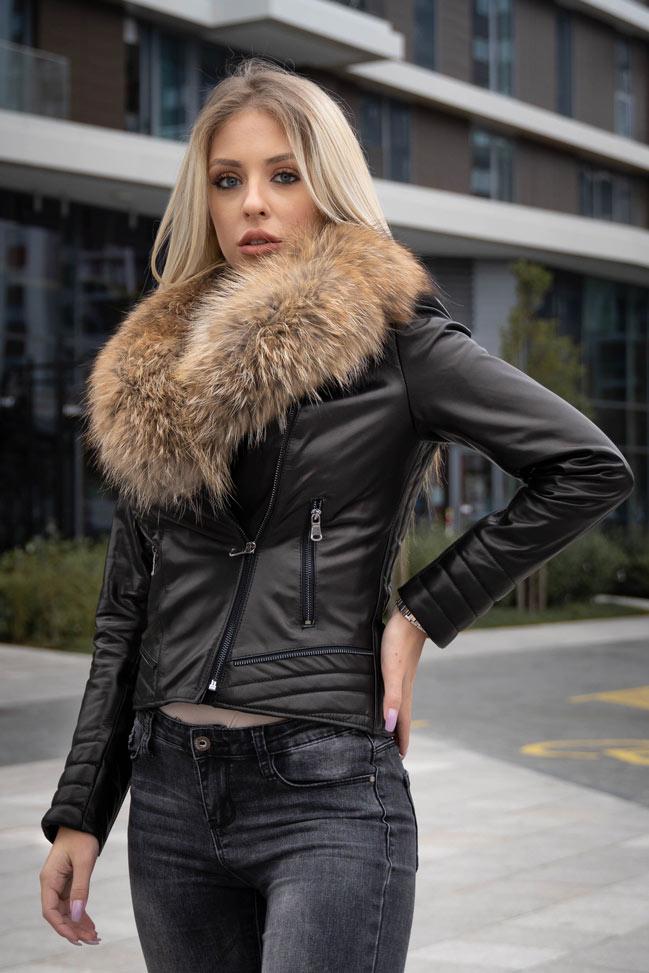Ženska kožna jakna sa krznom – Kim – Crna, natur krzno